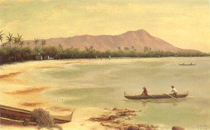 'Canoes_at_Diamond_Head',_oil_on_canvas_painting_by_Edward_Bailey,_1890,_Maui_Historical_Society